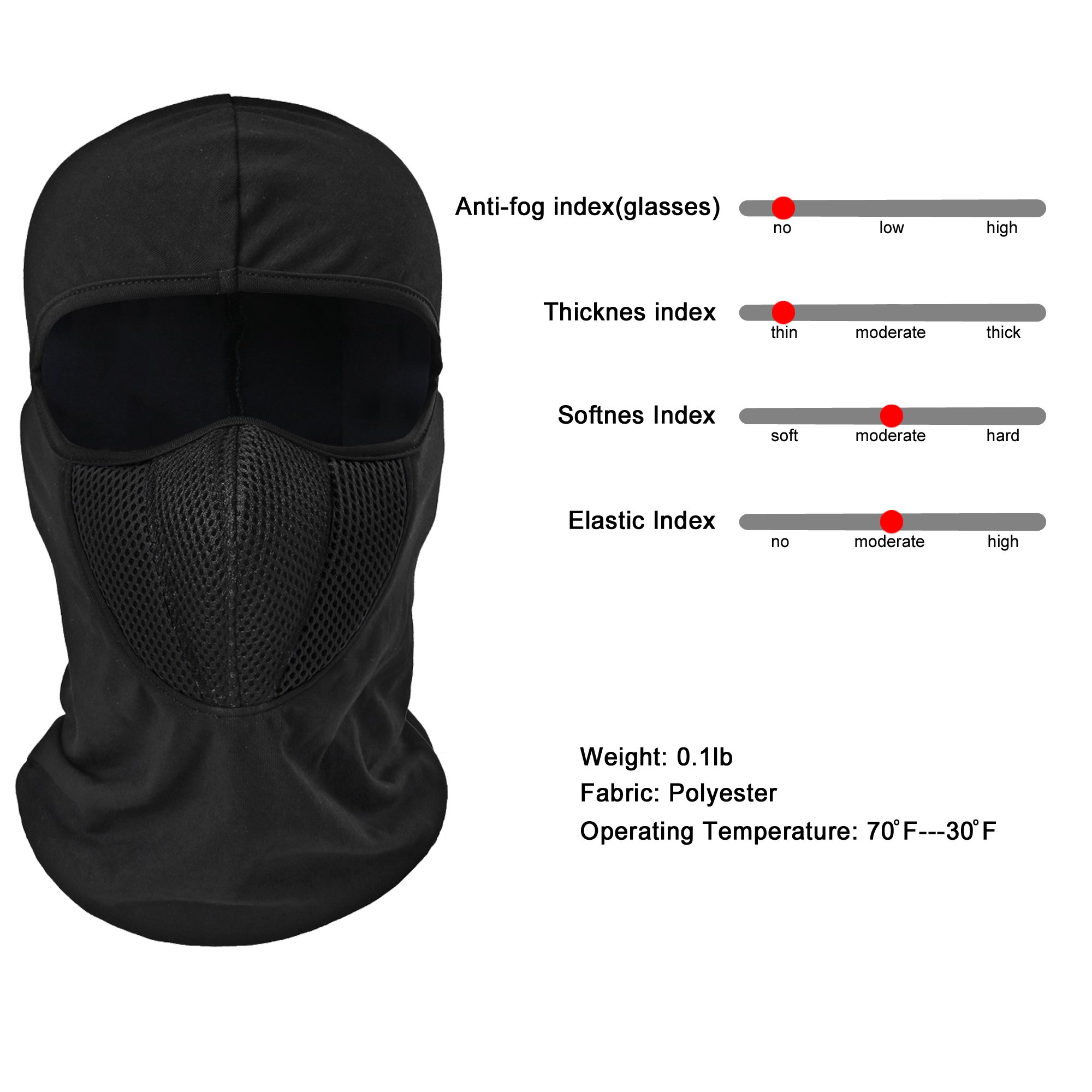 Breathable Mesh Multipurpose Windproof Motorcycle Cycling Tactical Balaclava Hood Neck Warmer Fit Helmets for Adults Women and Men Elastic Universal Size /… TAGVO Balaclava Face Mask