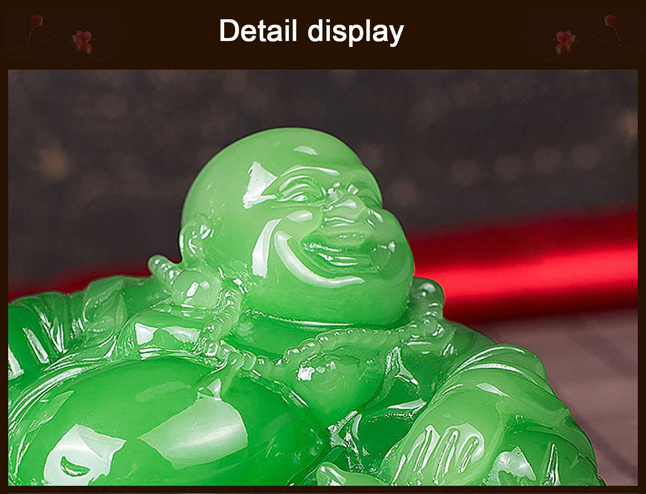 Green,M Prime Feng Shui Resin Laughing Buddha Hold Ingot Statue with Crystal Base and Pi Xiu Pendant Bead Ornaments Bless Safety and Wealth Car Home Office Decoration