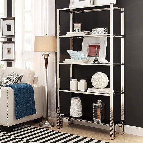 Editors' Choice: Inspire Q Alta Vista Black and Chrome Metal Bookcase