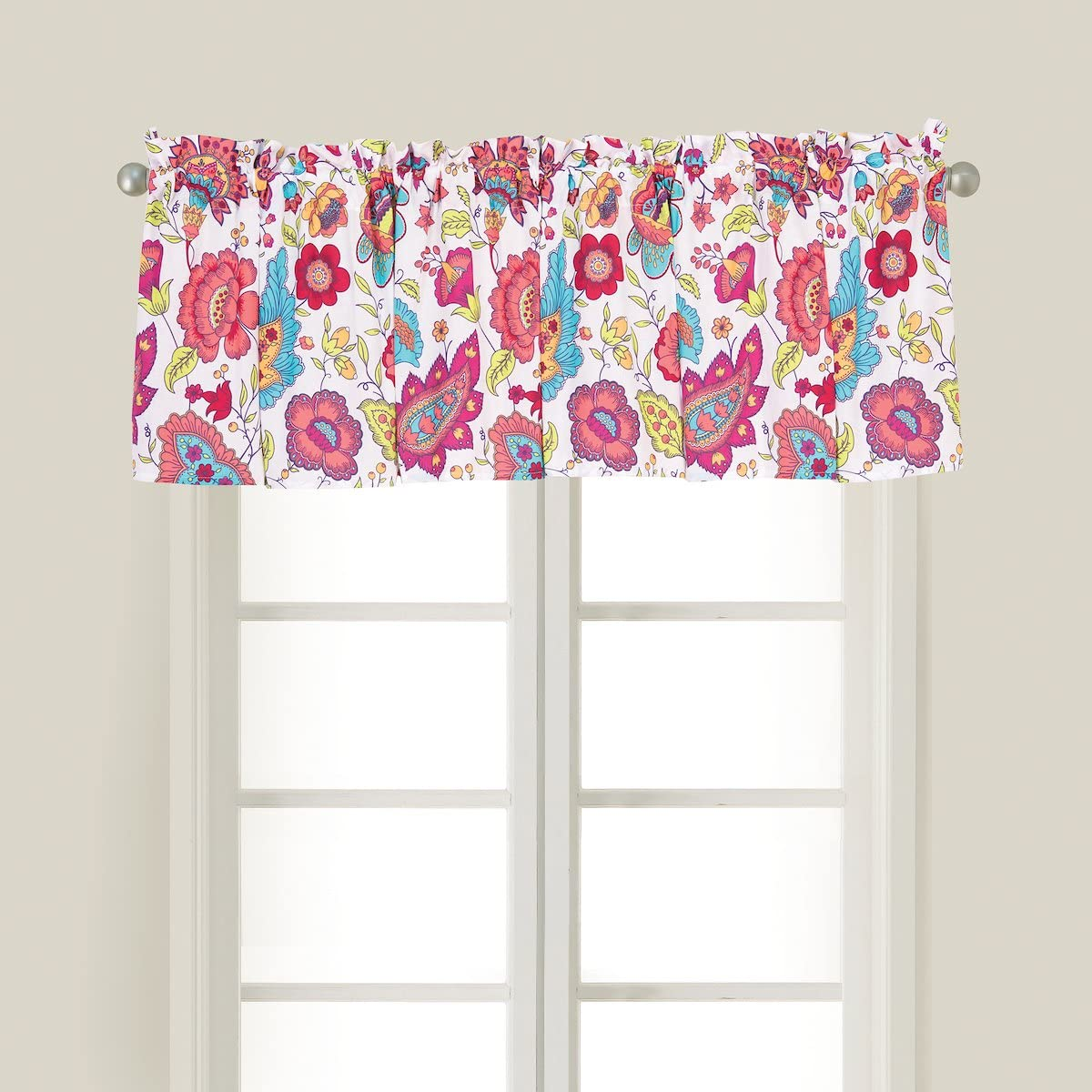 C&F Home Teagan Pink Paisley Girls Floral Botanical Spring Summer Cotton Bedroom Guestroom Premium Window Valance Valance Pink