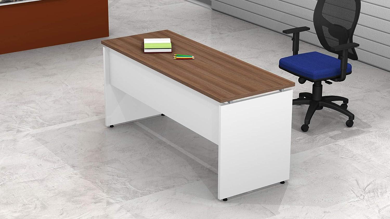 Bianco//Argento BIA0042, 100 Fumu SF010 Net P.60 Scrivania Ufficio lineare Pannello Legno L.80//100//120//140//160//180