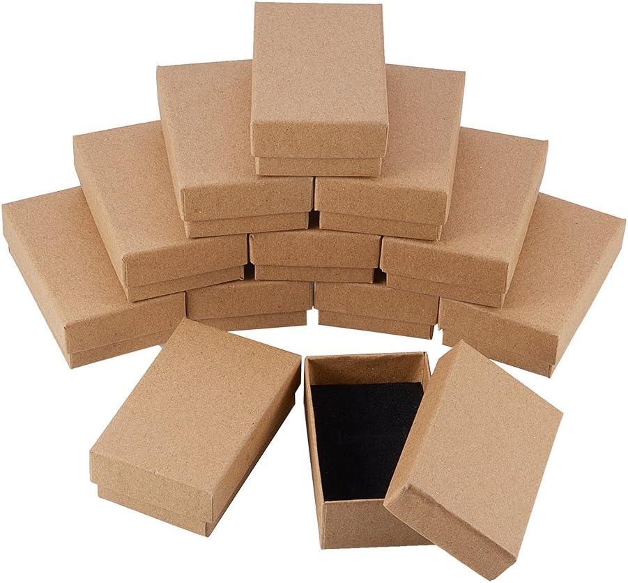 NBEADS 24 Piezas Caja de Joyas de Cajas de Cartón de Rectángulo de Kraft Marrón para Exhibición de Regalos de Anillo de Collar, 8x5x3 cm