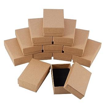 2caaf646a142 NBEADS 24 Piezas Caja de Joyas de Cajas de Cartón de Rectángulo de Kraft  Marrón para Exhibición de Regalos de Anillo de Collar, 8x5x3 cm
