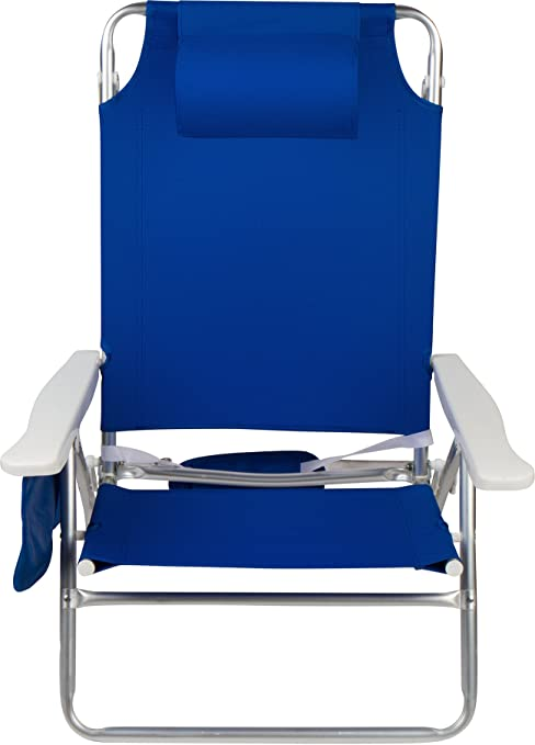 5 Position Beach Chair With Carry Strap, Pillow, Side Storage Pouch U0026  Aluminum