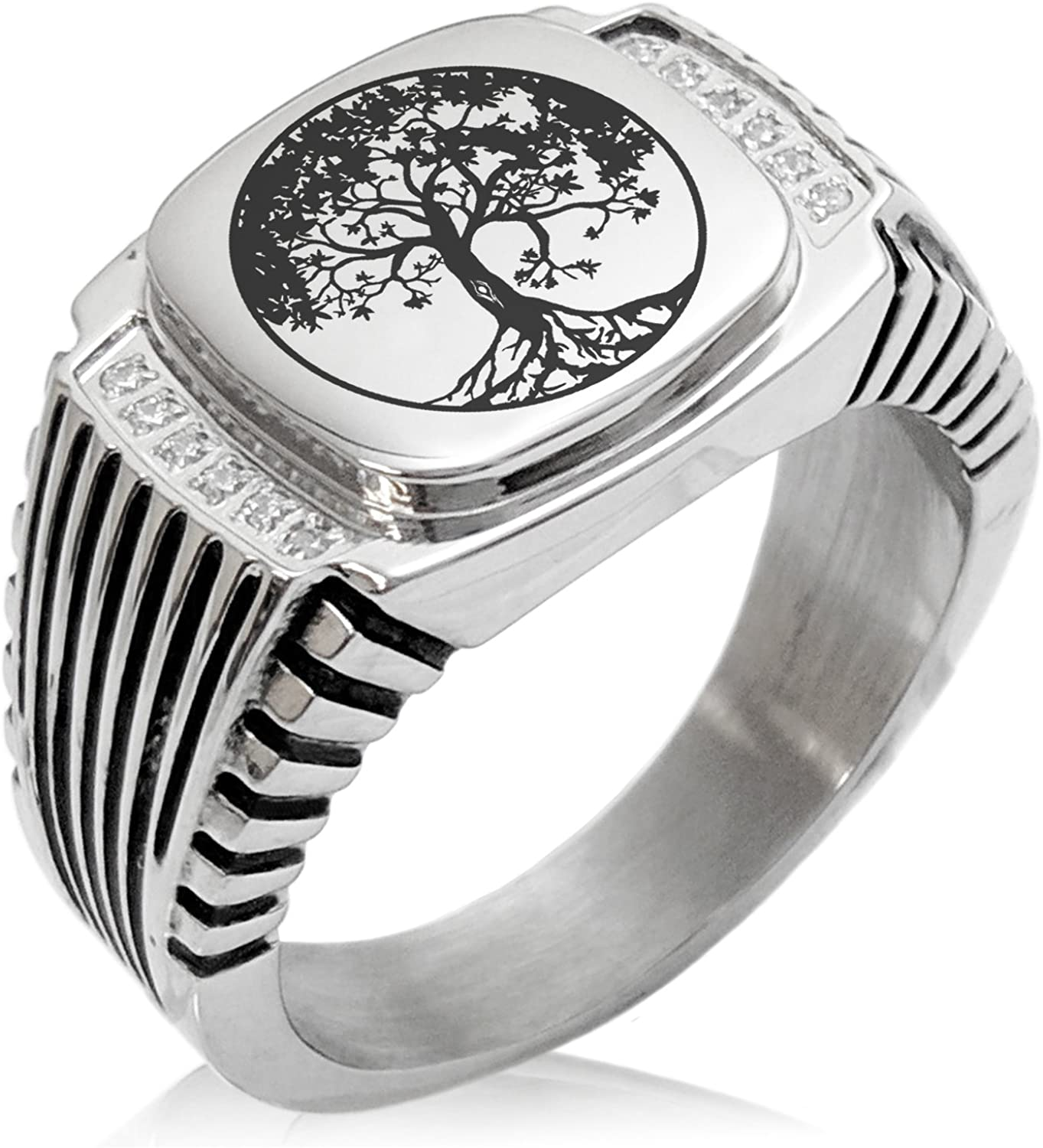 Tioneer Stainless Steel Tree of Life CZ Ribbed Needle Stripe Pattern Biker Style Polished Ring