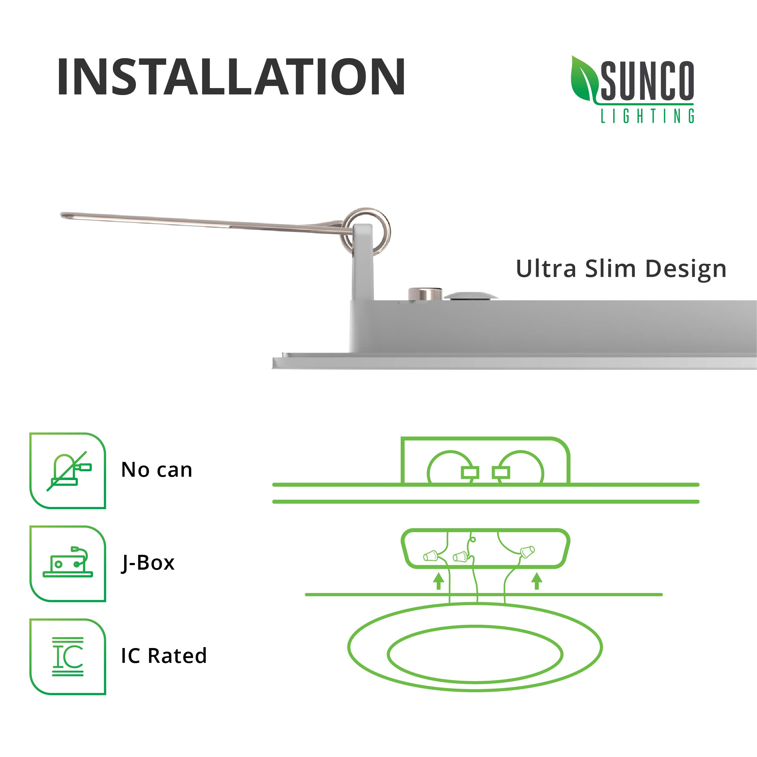 Sunco Lighting 6 Pack 6 Inch Slim LED Downlight with Junction Box, 14W=100W, 850 LM, Dimmable, 3000K Warm White, Recessed Jbox Fixture, Simple Retrofit Installation - ETL & Energy Star by Sunco Lighting (Image #5)