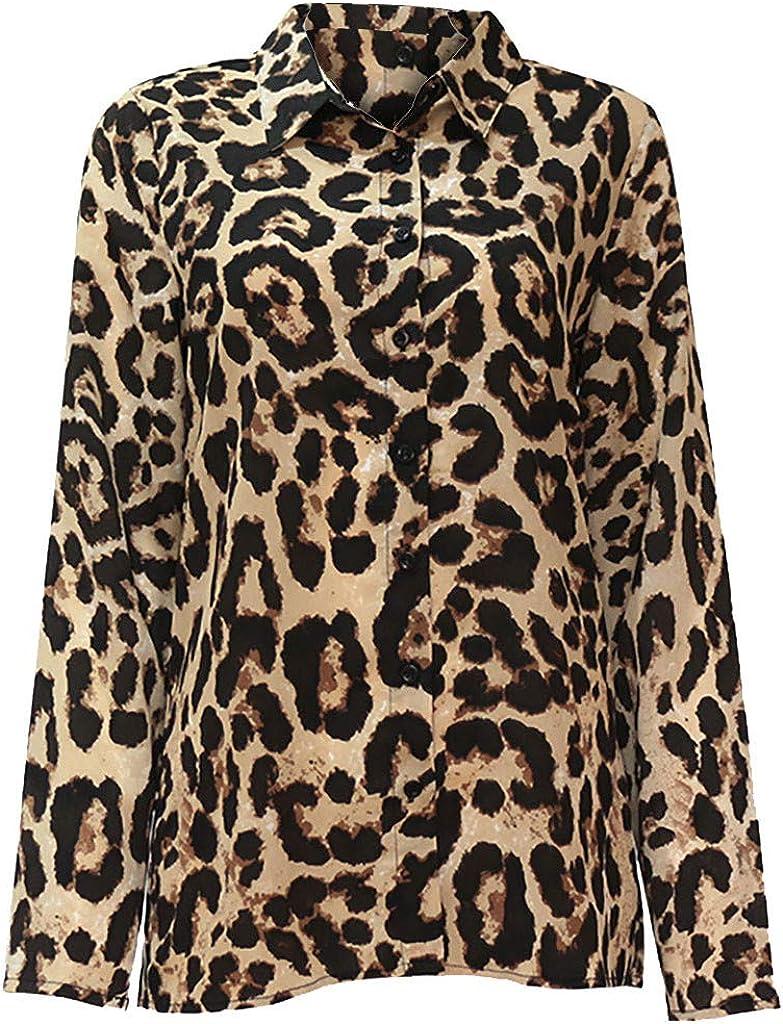 STRIR Blusa Mujer Camisetas Estampado De Leopardo Bot/óN Camisa Mujer Manga Larga Botones Cuello Ropa Mujer Primavera Verano 2019