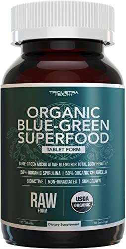 Organic Spirulina Chlorella Tablets 4 Organic Certifications, Raw, Non-Irradiated 50 50 Blue Green Algae Blend Antioxidant Content Equal to 5 Servings of Vegetables 120 Tablets