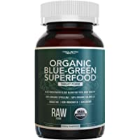 Organic Spirulina & Chlorella Tablets – 4 Organic Certifications, Raw, Non-Irradiated – 50/50 Blue Green Algae Blend – Antioxidant Content Equal to 5 Servings of Vegetables (120 Tablets)