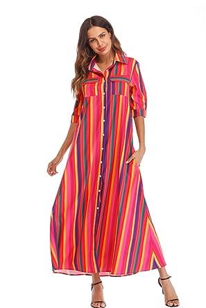 1804fe6daaa Women s Button Down Dress with Pockets Loose Half Sleeve Stripes Casual Rainbow  Maxi Dress