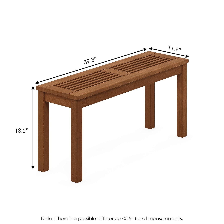 Natural Furinno FG181110-C Tioman Hardwood Patio Furniture Outdoor Backless Bench in Teak Oil