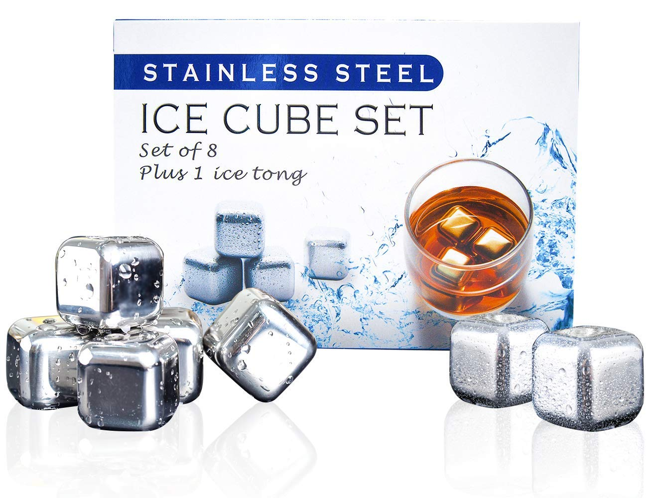 Whiskey Stones Gift Set, Maxwarm Stainless Steel Reusable Ice Cubes High Cooling Technology Set of 8 with Tongs & Freezer Storage Tray for Whiskey Wine Scotch Drinks Beer Juice by Maxwarm