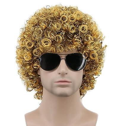 Karlery - Peluca corta para hombre, color negro y dorado, para disfraz de california