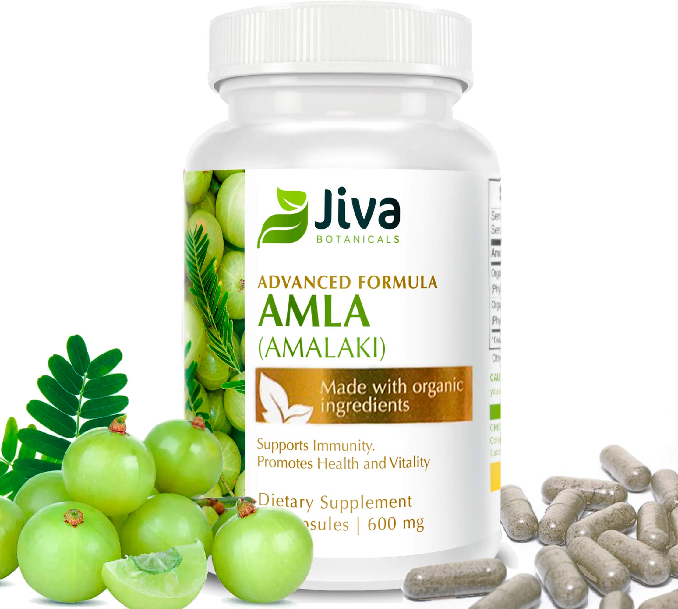 Organic Amla Powder Capsules - 600 mg Extract Formula - Potent Antioxidant, High in Organic Vitamin C - Amalaki, by JIVA BOTANICALS
