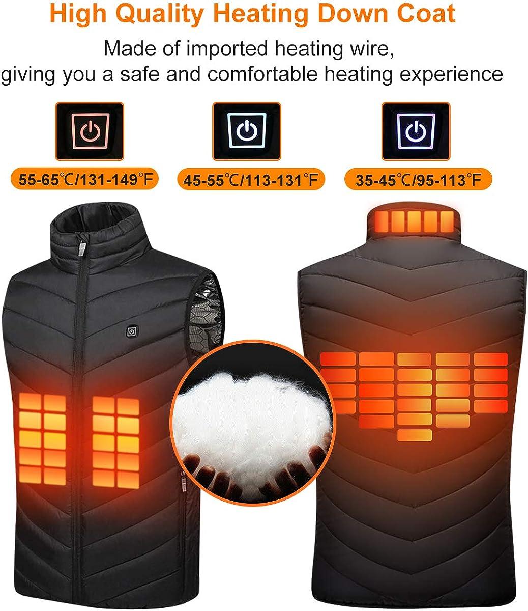 Caccia,-Lavabile Giacca a Collo Alto con Temperatura Regolabile per Moto Suxman Gilet Riscaldato USB Giubbotto Riscaldato Elettrico per Uomo Donna Allaperto Lavoro