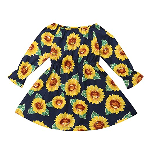 5ade744c255e Amazon.com  KONFA Teen Toddler Baby Girls Sunflowers Print Dress ...