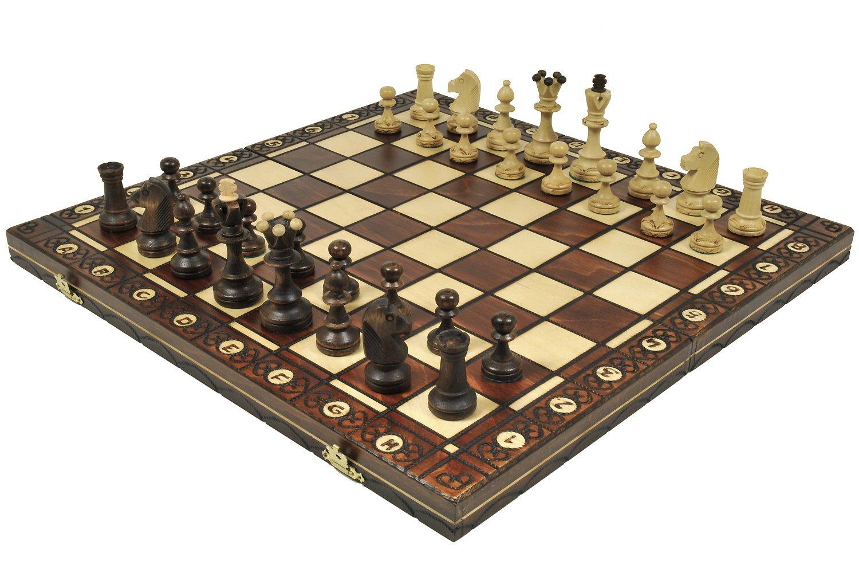 Brown Senator Wooden Chess Set Weighted Chessmen 16 x 16 Wegiel