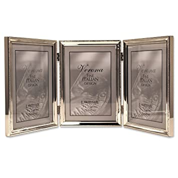 lawrence frames polished silver plate 5x7 hinged triple picture frame bead border design