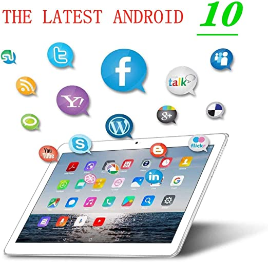 silbernen 4G LTE Dual SIM,4GB RAM 64GB Speicher 1920 * 1200 Full HD IPS Touchscreen,Dual Kamera WiFi//WLAN//Bluetooth//GPS TYD-109 Deca-core 10.1 Zoll Tablet TYD Android 10