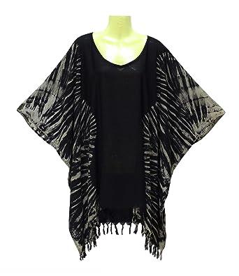 f6b64b46f9 Poncho Caftan Tops Kaftan Blouse Tie dye Plus Size (Black) at Amazon ...