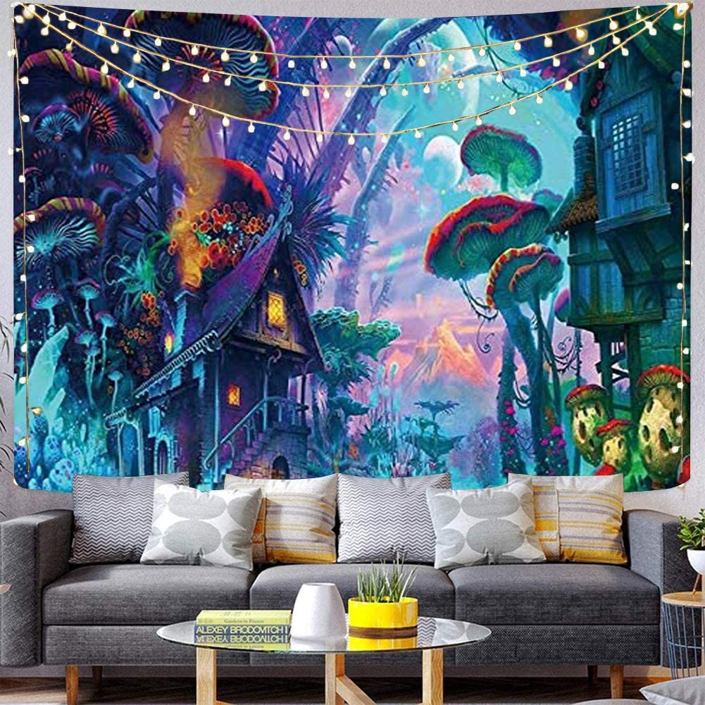 Qchengsan Psychedelic Mushroom Tapestry,Forest Wall Decor Tapestries,Trippy Colorful Abstract Pattern Tapestry, Magic Land Tapestry,Wall Hanging for Bedroom Living Room Dorm(59x51 inch, 10)