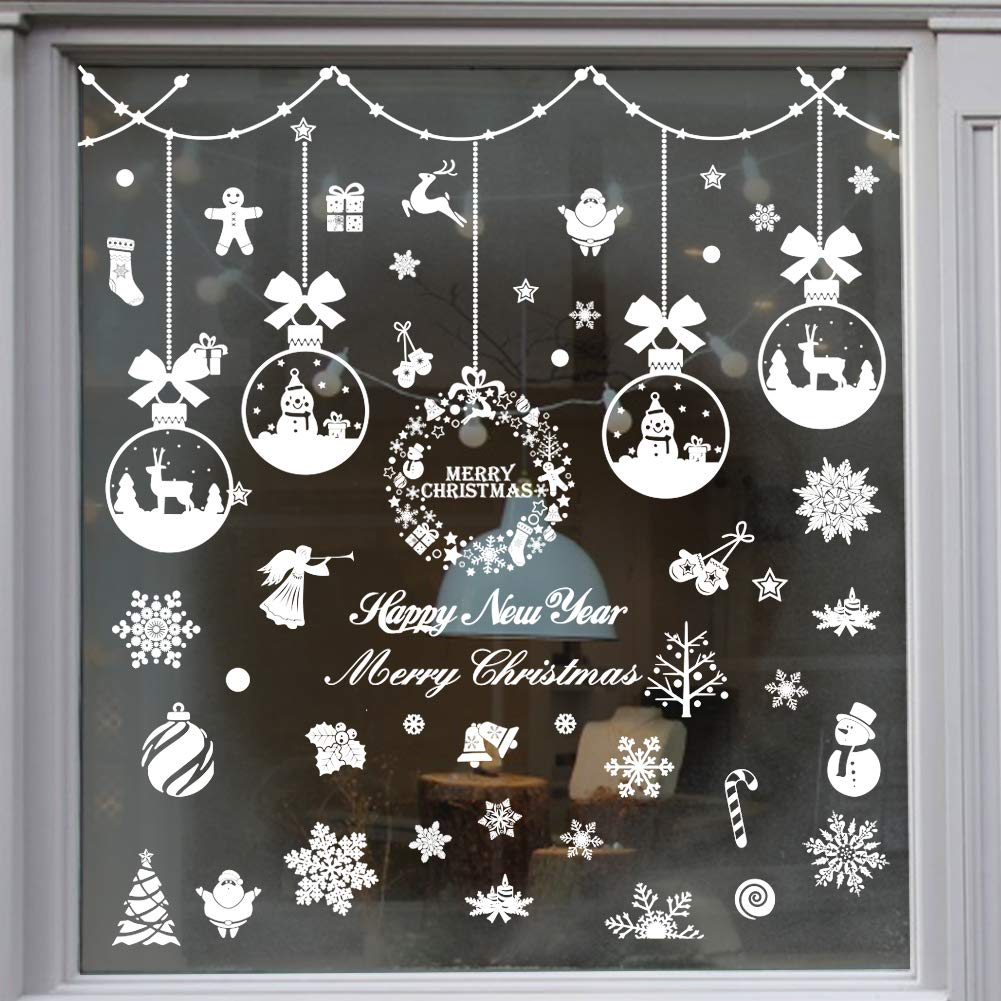 TMCCE 235 Piece Christmas Window Snowflake Cling Decals Stickers Decorations for Holiday Celebration Merry Christmas Winter Wonderland Party Decorations Supplies