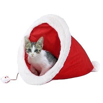 Cama para Gatos, Legendog Sombrero de Navidad Multifuncional Santa Hat Mascota Cueva Cama para Perros Pequeños y Gatos: Amazon.es: Productos para mascotas