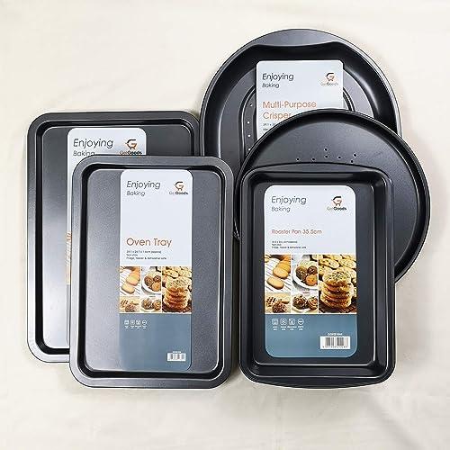 5 Piece Get Goods Enjoy Baking Large Non Stick Oven Tray Pizza Baking Crisper Roasting Tin Pans