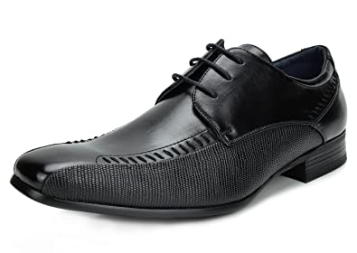 e7615dd5c725e Bruno Marc Men's Gordon-01 Black Classic Modern Formal Oxfords Lace Up  Leather Lined Snipe