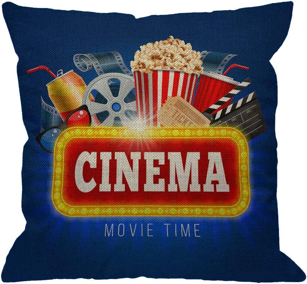 غطاء وسادة أريكة من HGOD DESIGNS سينما وقت السينما ، لوحة تصفق لشرب الفشار وأشياء أخرى على السينماتوغراف وسادة زخرفية أغطية وسائد من القطن الكتان للأريكة المنزلية والأريكة 45.72 سم × 45.72 سم