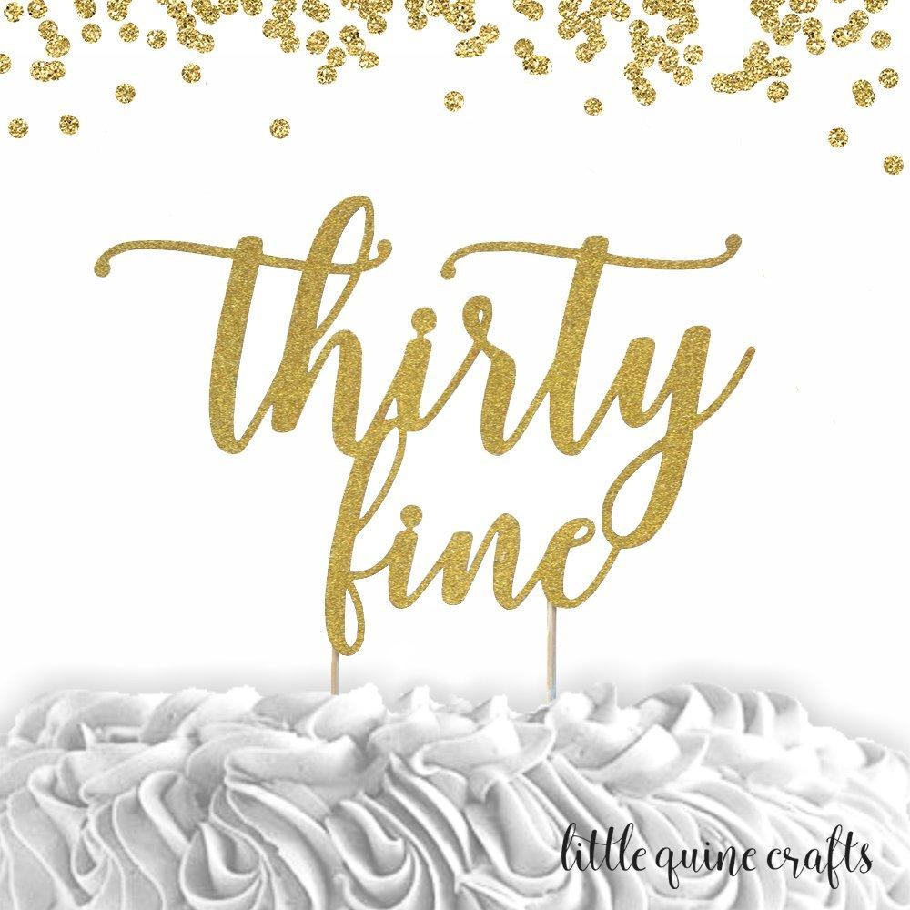 1 pc age thirty fine thirty something birthday script fonts gold black fuchsia pink silver glitter cake topper