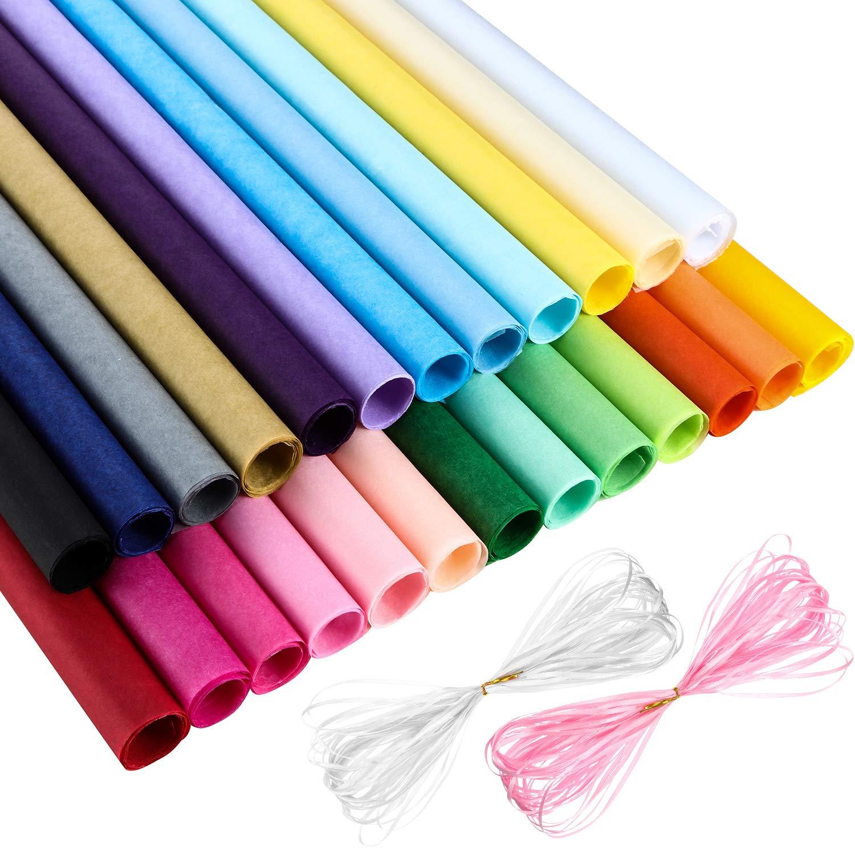 50 Pezzi 25 Colori Assortiti Carta Velina con 2 Pezzi Nastro per Confezione Regalo in Forniture di Festa Hestya