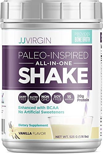 JJ Virgin Vanilla Paleo-Inspired All-in-One Shake – Paleo Keto-Friendly Protein Powder 15 Servings, 1.16 Pounds