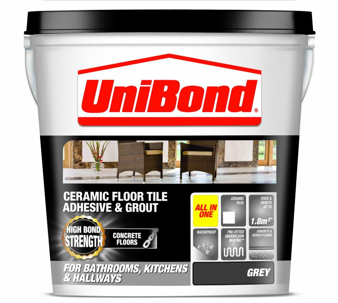 UniBond Ceramic Floor Tile Large Adhesive/Grout for Concrete Floors - Grey Henkel 1535348