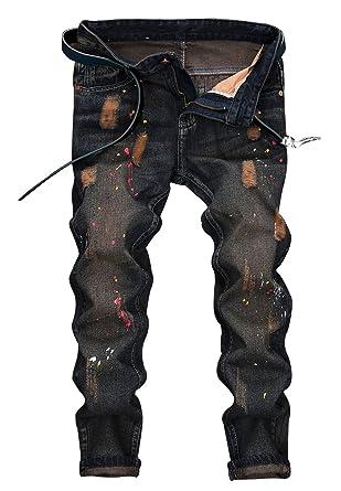 moto pants mens. men\u0027s distressed moto biker jeans straight slim fit denim pants - above ankle length (us mens r
