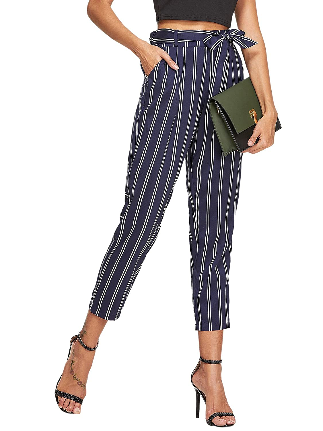 55db9b46643b SheIn Women's Self Belt Elastic Waist Striped Pants with Pockets Large Navy  at Amazon Women's Clothing store: