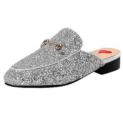 Artfaerie Damen Geschlossene Slingback Pantoletten Slipper mit Glitzer und Mentall Bequem Loafers Moderne Mules...