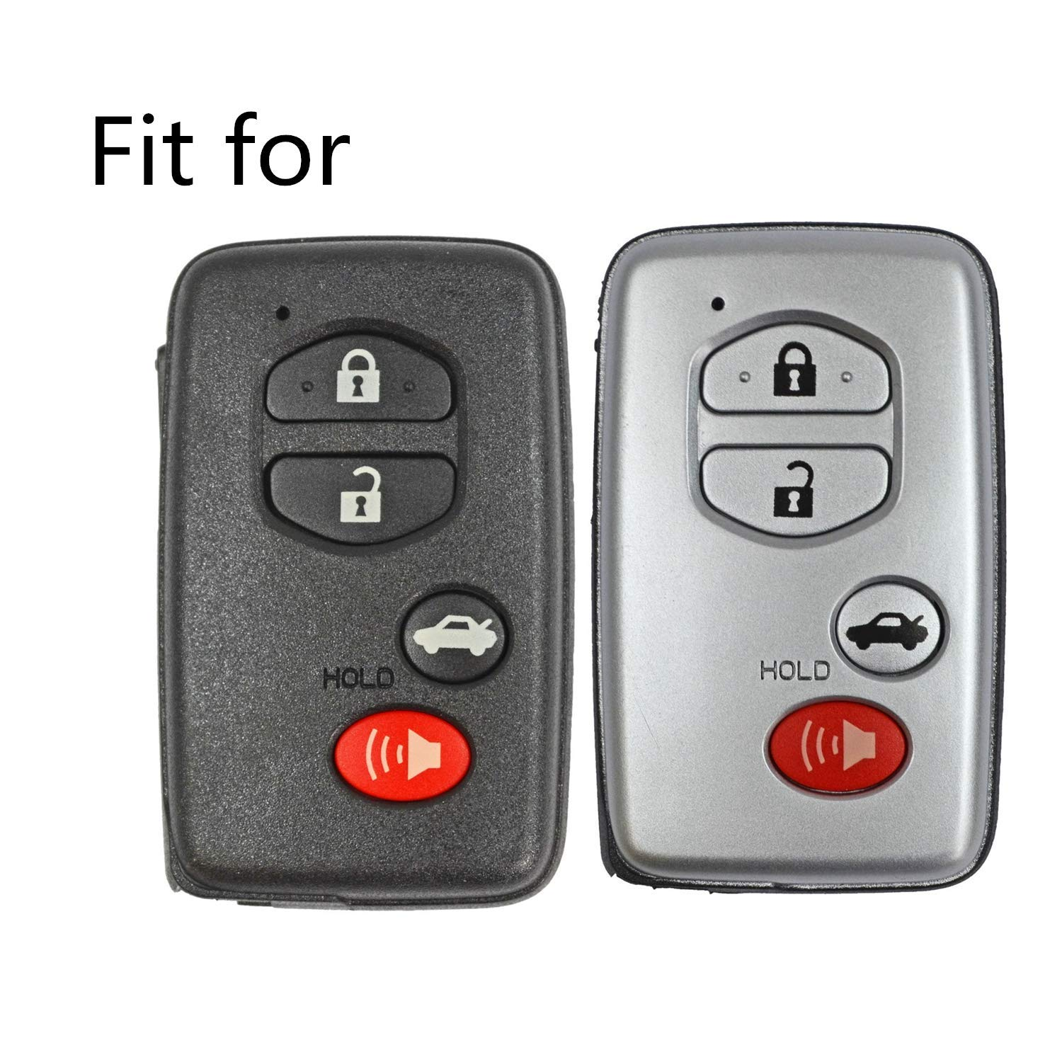 MJKEY 2Pcs New 4 Buttons Black Silicone Smart Remote Key Case Fob Jacket Cover Key chain Skin Holder for Toyota Camry Avalon Highlander RAV4 Sequoia