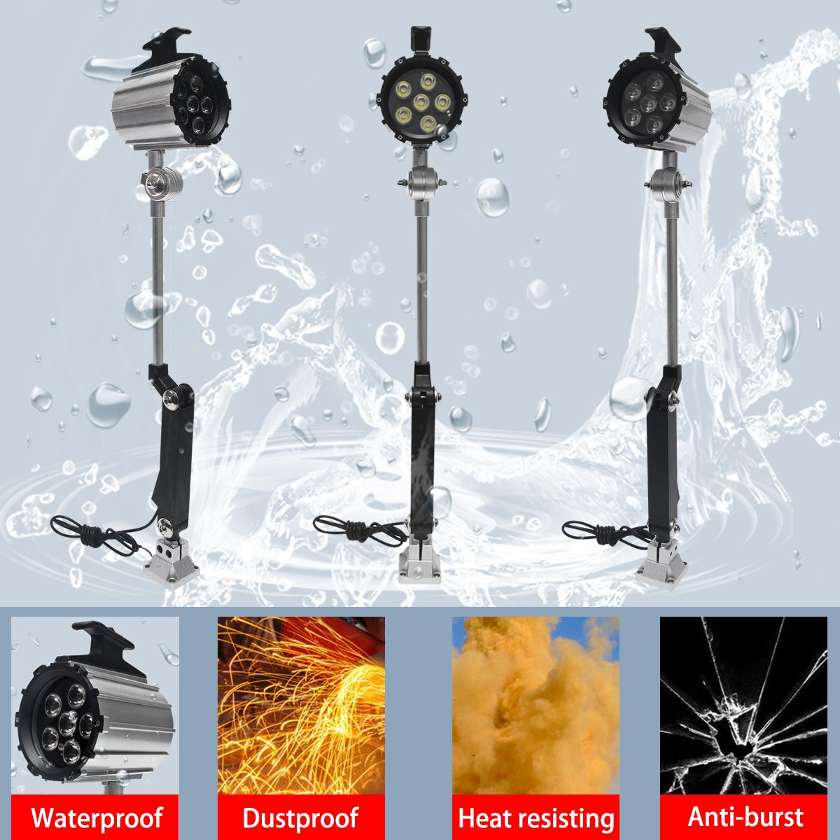 Wisamic LED Work Light for Lathe, CNC Milling Machine, Drilling Machine, Aluminum Alloy, 12W 110V-220V, Adjustable Multipurpose Worklight, Long Arm by WISAMIC (Image #6)