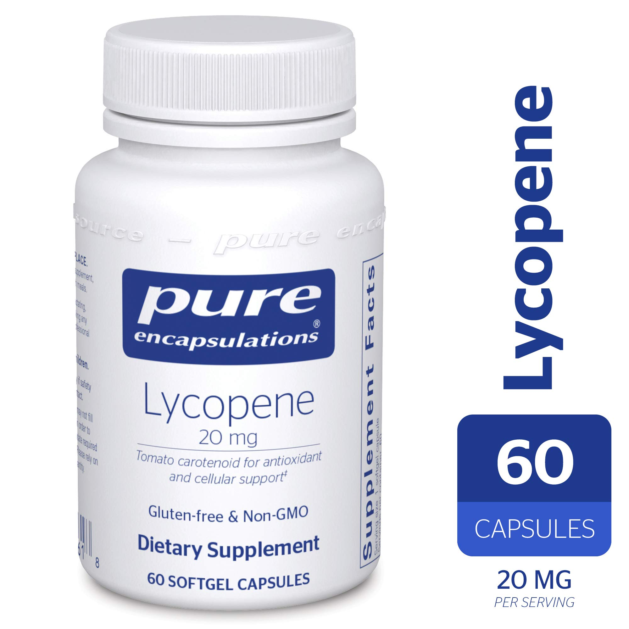 Pure Encapsulations - Lycopene 20 mg - Dietary Supplement for Prostate, Cellular and Macular Support* - 60 Softgel Capsules