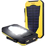 Foreverrise Solar Charger 15000mAh High Capacity Solar Panel Power Bank Portable Battery Pack Bright LED lights Dual USB Solar Battery Charger for Cell Phone,Tablet and other USB Device (Yellow)
