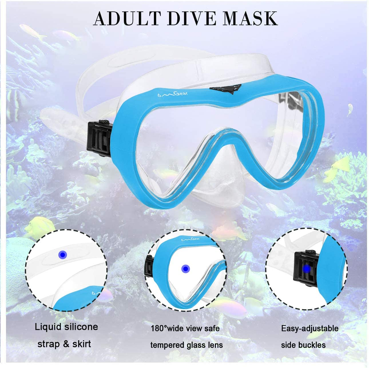 OMGear Diving Mask Snorkeling Gear Kids Adult Snorkel Mask Dive Goggles Silicone Swim Glasses Scuba Free Diving Spearfishing Anti-Leak Anti-Fog Neoprene Strap Cover Wathet Blue