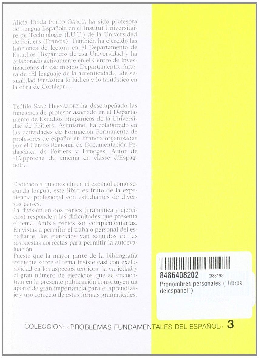 Coleccion Problemas Fundamentales Del Espanol: Los Pronombres Personales: Amazon.es: Puleo Sanz: Libros