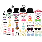Ohuhu Party Costume Props 58 Piece DIY Kit, Photo Booth Props Dress-up Accessories for Christmas Costume, Wedding Party Reunions Birthdays