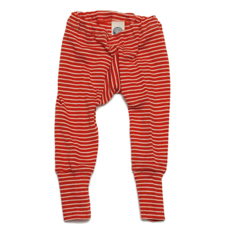 Cosilana–Pantalón largo para bebé, 70 % lana de merino orgánica, 30 % seda Rojo striped Red-Natural 16-24 Meses (Altura 34-36) (86/92)