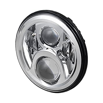 Chrome Black 7 Round Led Daymaker 4d Projectoion Hilo Headlight