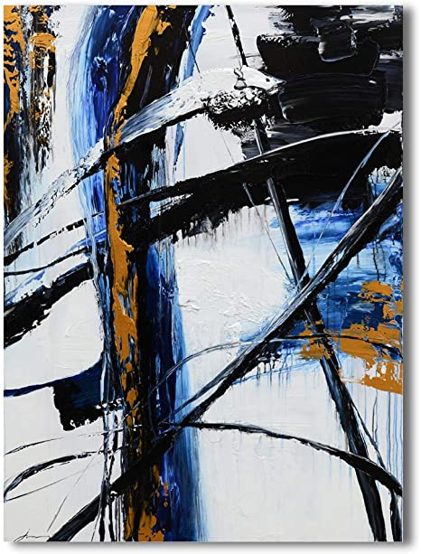 Amazon Com Yihui Arts Abstract Blue Oil Painting Black And White Large Canvas Art Pictures Modern Home Wall Art For Living Room Bedroom Hallway Condo Decor 24x36in Posters Prints