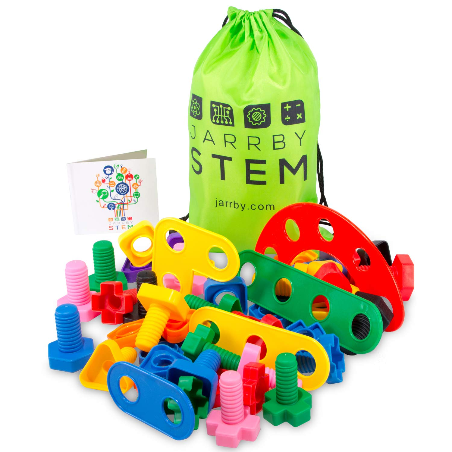 Nuts and Bolts Fine Motor Skills OCT Toddler Toys - Montessori Building Construction Kids Matching Game for Preschoolers - Jumbo 24 pc Set with Backpack. Juguetes para niños DE 1 2 3 4 años