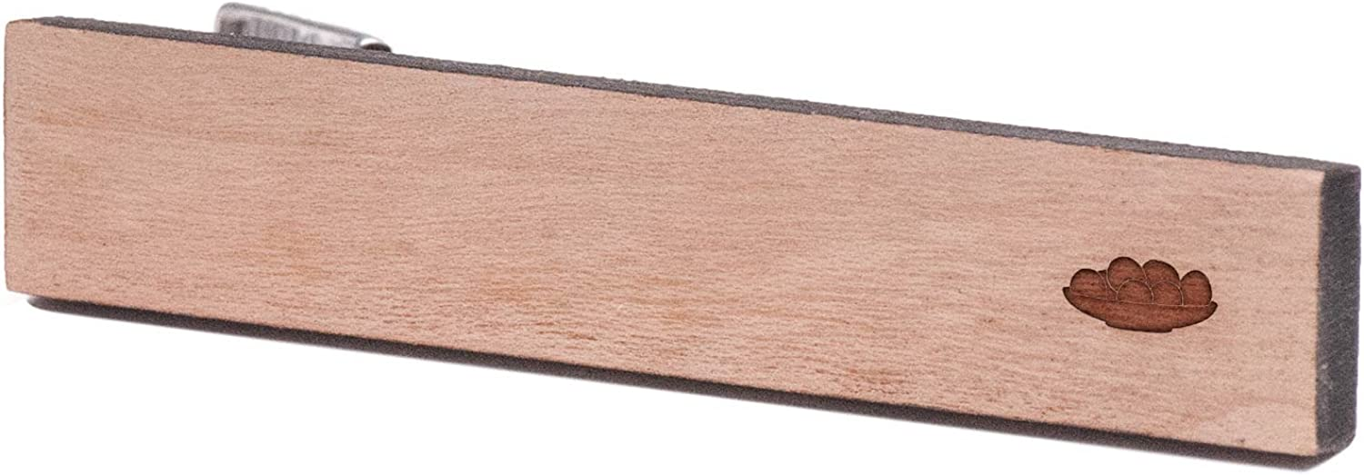 Cherry Wood Tie Bar Engraved in The USA Wooden Accessories Company Wooden Tie Clips with Laser Engraved Senjed Design