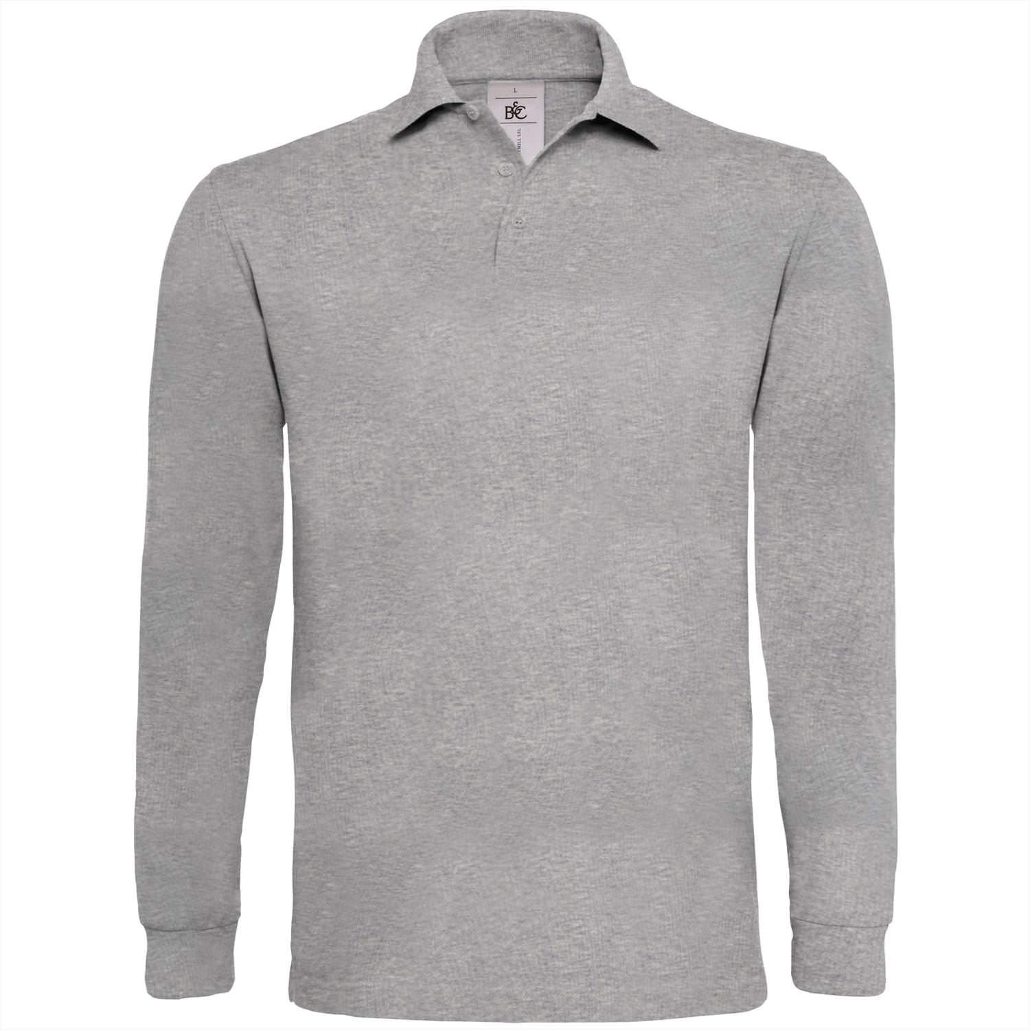 B/&C Collection Mens Long Sleeve Heavymill Polo Shirt